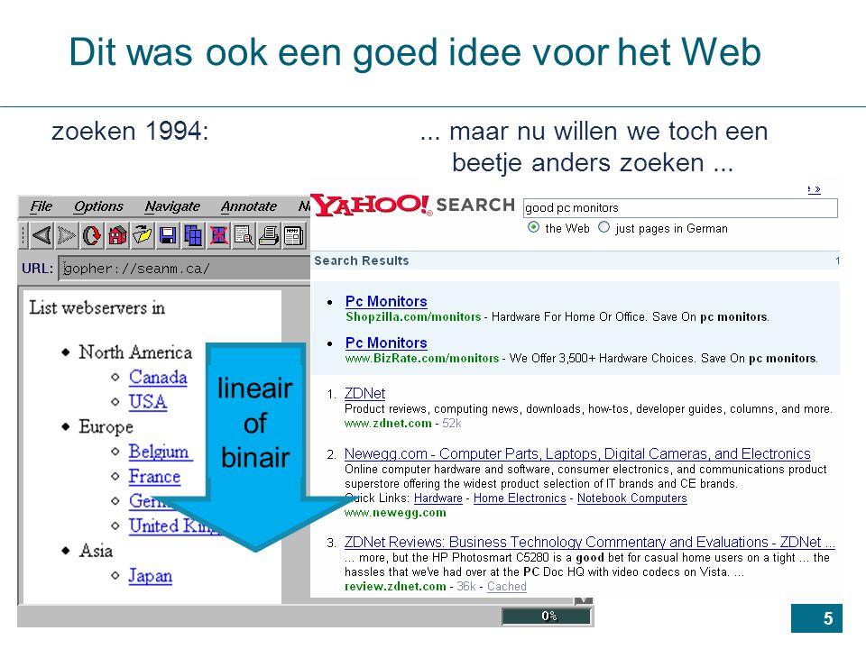 5 Dit was ook een goed idee voor het Web... maar nu willen we toch een beetje anders zoeken...