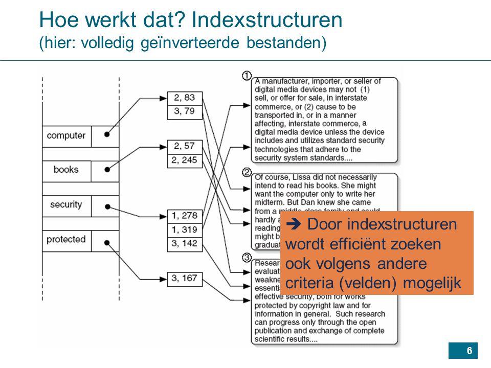 87 Indexen: samenvatting Grootste voordeel van indexen: –kunnen in principe gebruikt worden met eender welke primaire bestandsorganisatie –bemerk dat primaire organisatie enkel efficiënt zoeken op 1 veld mogelijk maakt Indexen o.a.