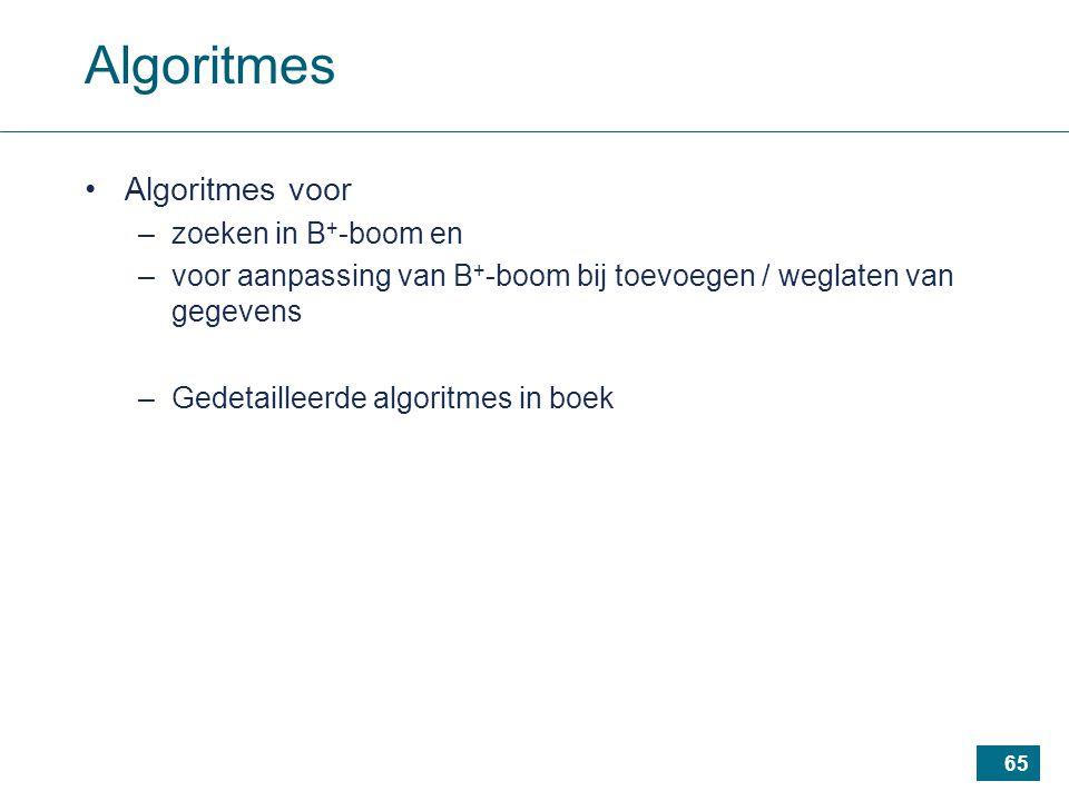 65 Algoritmes Algoritmes voor –zoeken in B + -boom en –voor aanpassing van B + -boom bij toevoegen / weglaten van gegevens –Gedetailleerde algoritmes in boek