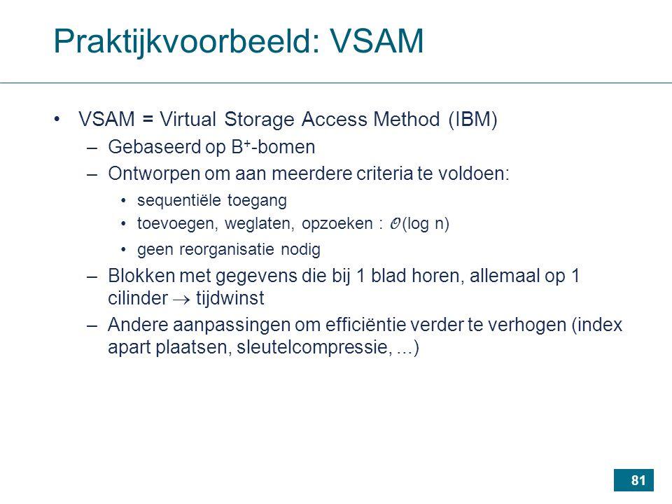 81 Praktijkvoorbeeld: VSAM VSAM = Virtual Storage Access Method (IBM) –Gebaseerd op B + -bomen –Ontworpen om aan meerdere criteria te voldoen: sequentiële toegang toevoegen, weglaten, opzoeken : O (log n) geen reorganisatie nodig –Blokken met gegevens die bij 1 blad horen, allemaal op 1 cilinder  tijdwinst –Andere aanpassingen om efficiëntie verder te verhogen (index apart plaatsen, sleutelcompressie,...)
