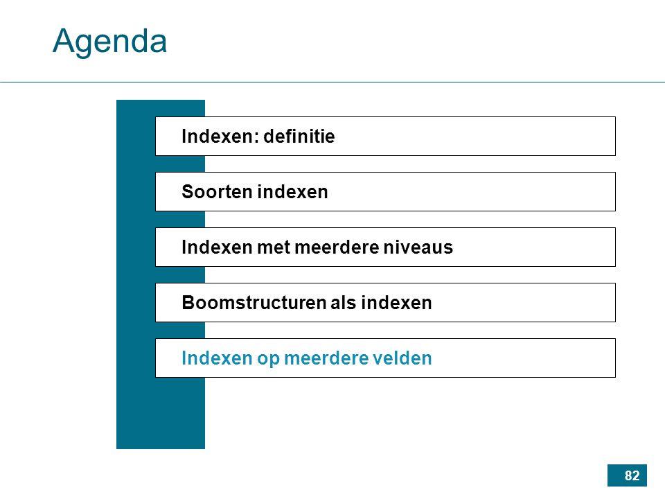 82 Agenda Indexen: definitie Soorten indexen Indexen met meerdere niveaus Boomstructuren als indexen Indexen op meerdere velden