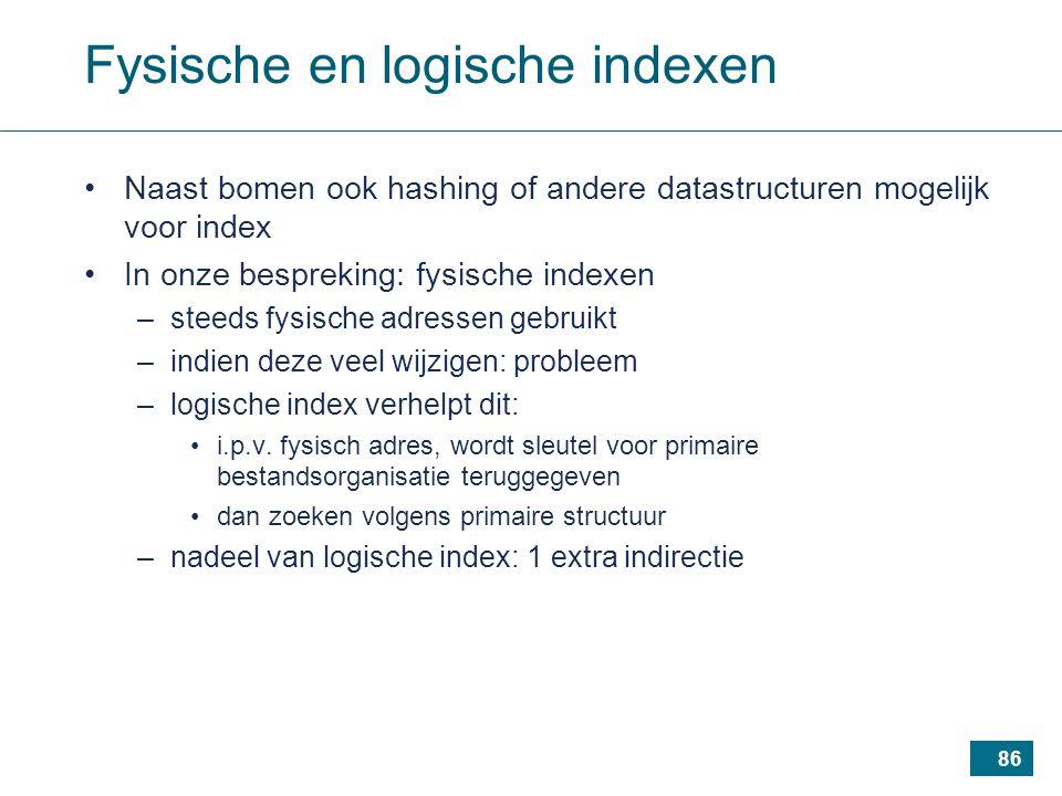 86 Fysische en logische indexen Naast bomen ook hashing of andere datastructuren mogelijk voor index In onze bespreking: fysische indexen –steeds fysische adressen gebruikt –indien deze veel wijzigen: probleem –logische index verhelpt dit: i.p.v.