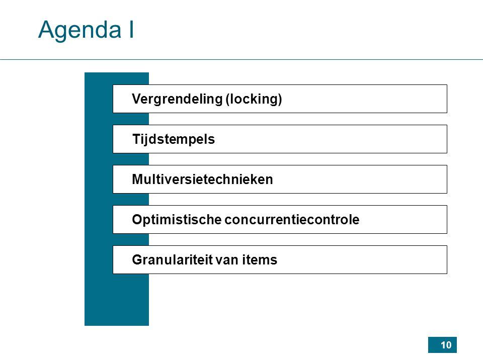 10 Agenda I Vergrendeling (locking) Tijdstempels Multiversietechnieken Optimistische concurrentiecontrole Granulariteit van items