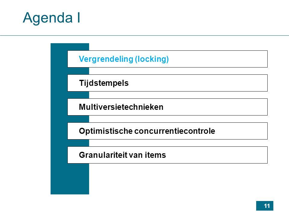 11 Agenda I Vergrendeling (locking) Tijdstempels Multiversietechnieken Optimistische concurrentiecontrole Granulariteit van items
