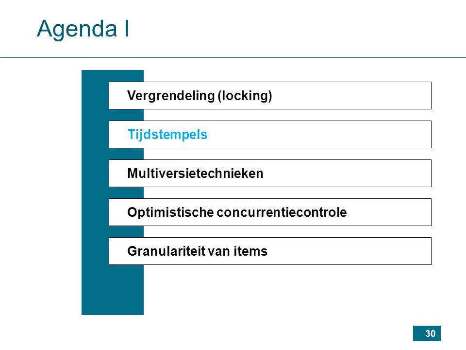 30 Agenda I Vergrendeling (locking) Tijdstempels Multiversietechnieken Optimistische concurrentiecontrole Granulariteit van items