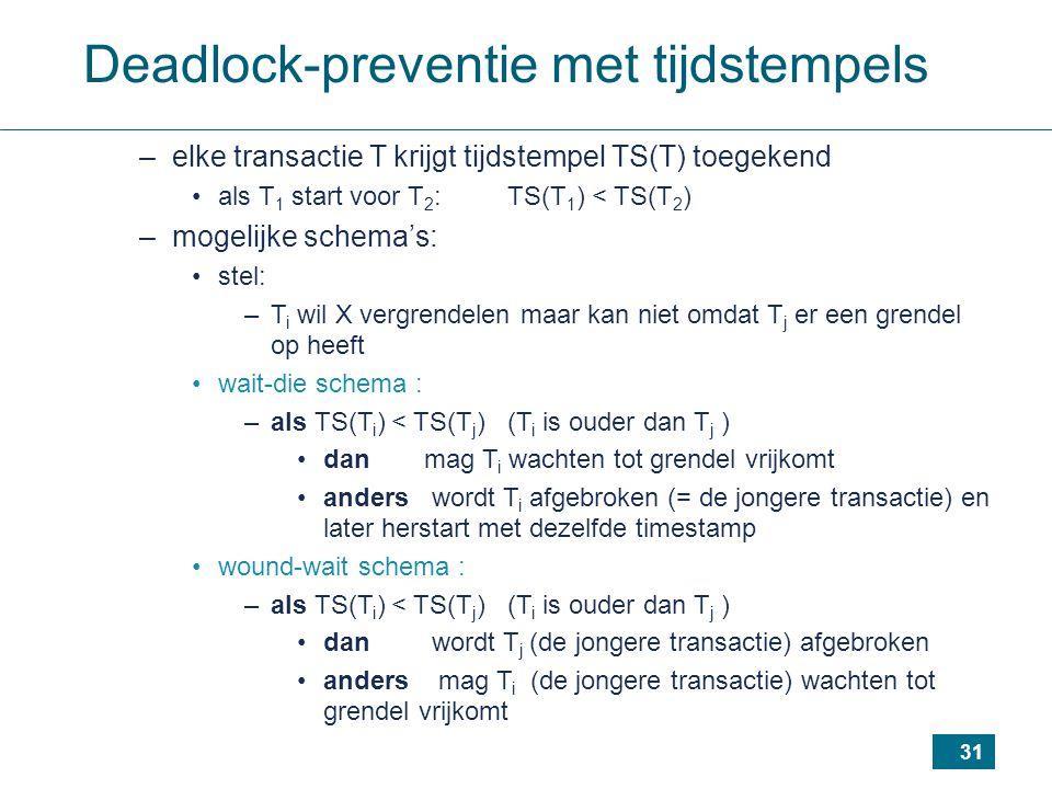 31 Deadlock-preventie met tijdstempels –elke transactie T krijgt tijdstempel TS(T) toegekend als T 1 start voor T 2 : TS(T 1 ) < TS(T 2 ) –mogelijke schema's: stel: –T i wil X vergrendelen maar kan niet omdat T j er een grendel op heeft wait-die schema : –als TS(T i ) < TS(T j ) (T i is ouder dan T j ) dan mag T i wachten tot grendel vrijkomt anders wordt T i afgebroken (= de jongere transactie) en later herstart met dezelfde timestamp wound-wait schema : –als TS(T i ) < TS(T j ) (T i is ouder dan T j ) dan wordt T j (de jongere transactie) afgebroken anders mag T i (de jongere transactie) wachten tot grendel vrijkomt