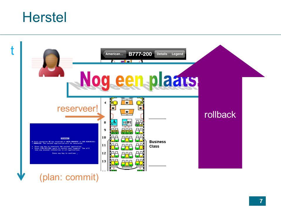 7 Herstel t (plan: commit) reserveer! rollback