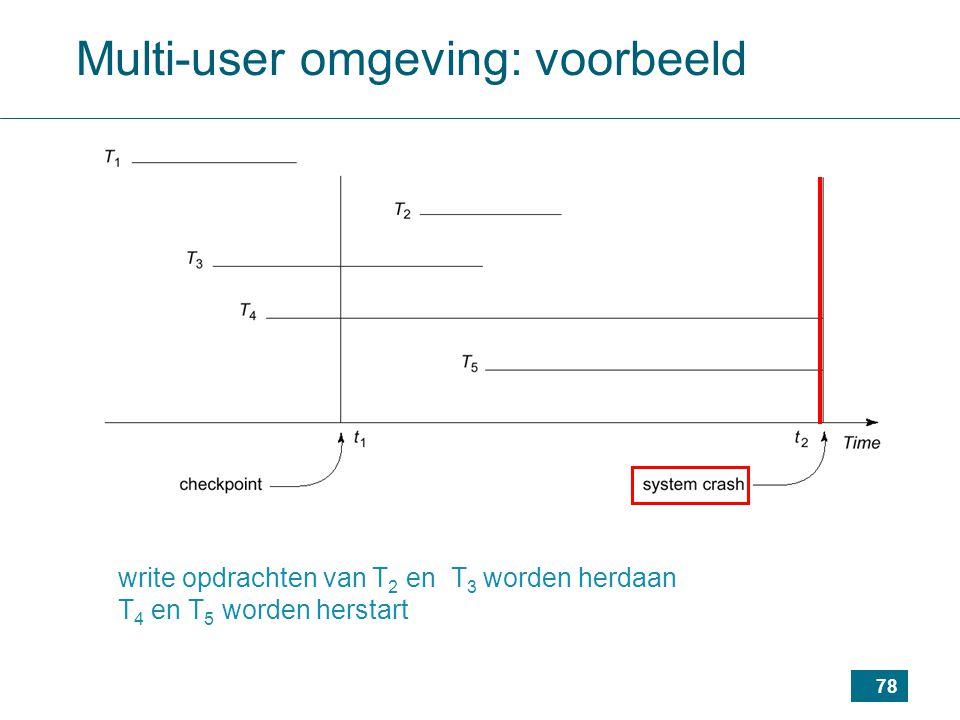 78 write opdrachten van T 2 en T 3 worden herdaan T 4 en T 5 worden herstart Multi-user omgeving: voorbeeld