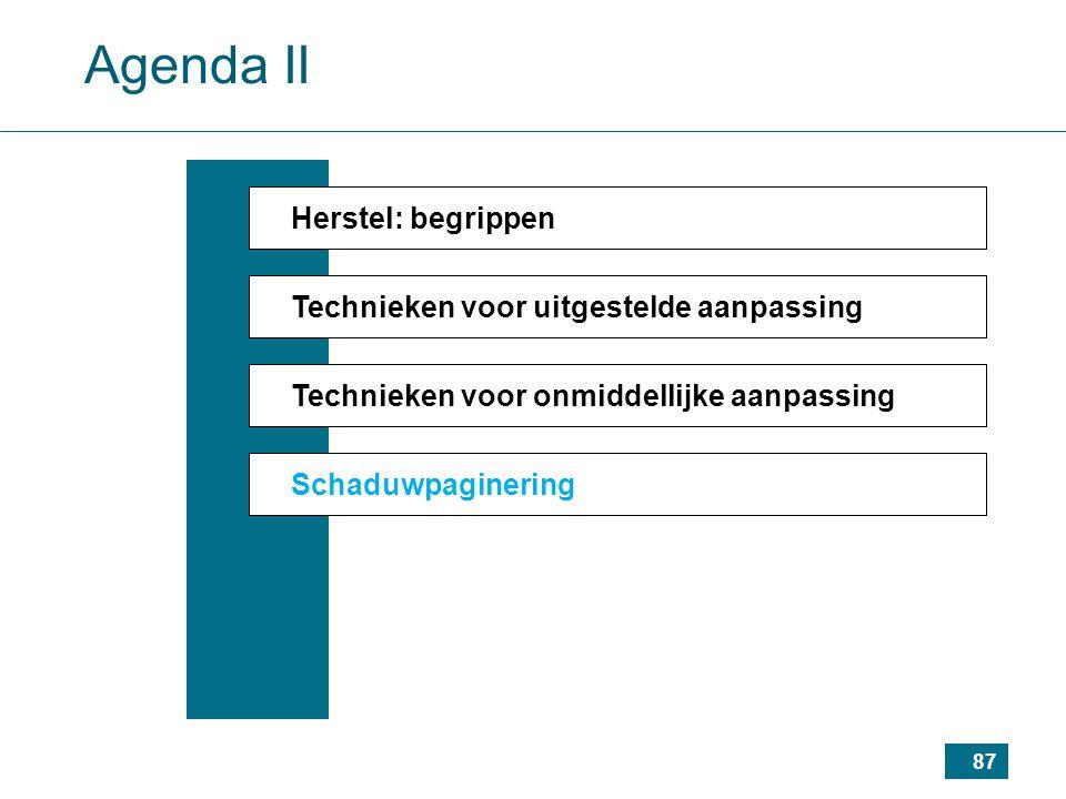 87 Agenda II Herstel: begrippen Technieken voor uitgestelde aanpassing Technieken voor onmiddellijke aanpassing Schaduwpaginering