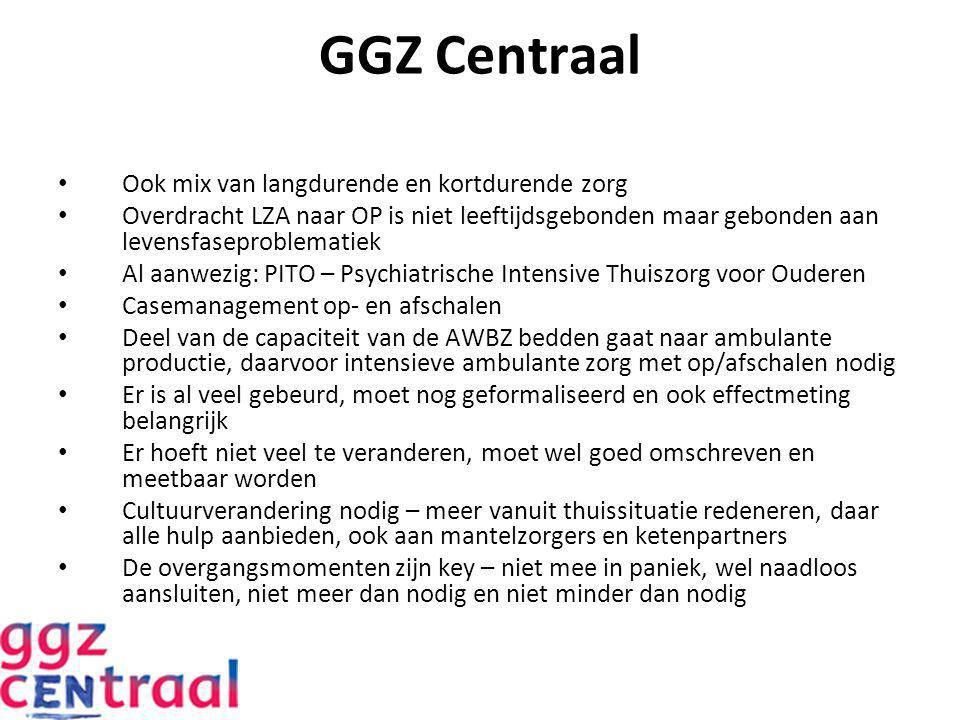 GGZ Centraal Ook mix van langdurende en kortdurende zorg Overdracht LZA naar OP is niet leeftijdsgebonden maar gebonden aan levensfaseproblematiek Al