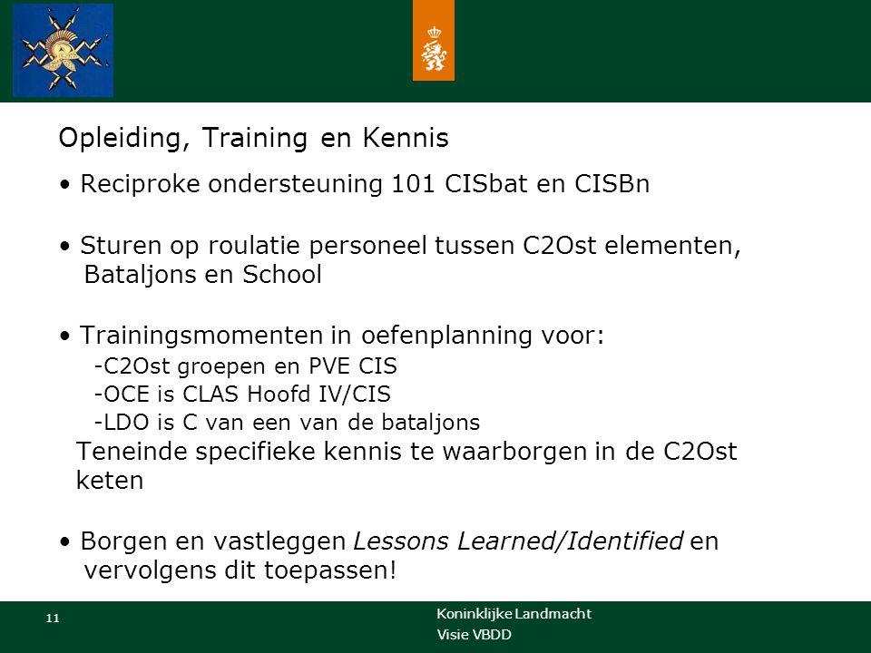 Koninklijke Landmacht 11 Visie VBDD Opleiding, Training en Kennis Reciproke ondersteuning 101 CISbat en CISBn Sturen op roulatie personeel tussen C2Os