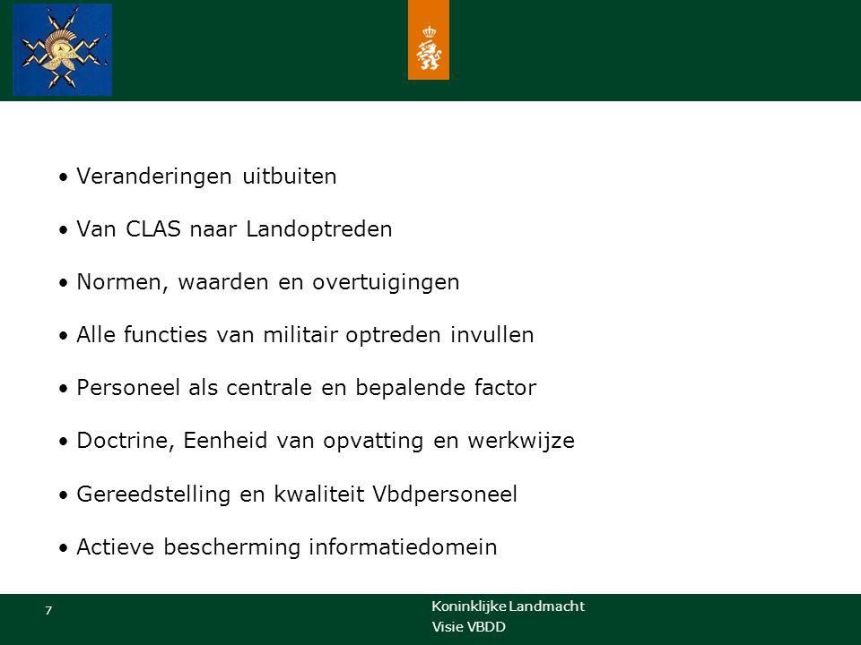 Koninklijke Landmacht 7 Visie VBDD Veranderingen uitbuiten Van CLAS naar Landoptreden Normen, waarden en overtuigingen Alle functies van militair optr