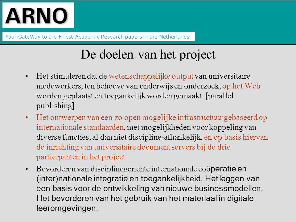 Your GateWay to the Finest Academic Research papers in the Netherlands De doelen van het project Het stimuleren dat de wetenschappelijke output van universitaire medewerkers, ten behoeve van onderwijs en onderzoek, op het Web worden geplaatst en toegankelijk worden gemaakt.