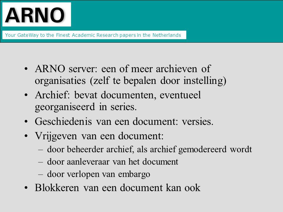 Your GateWay to the Finest Academic Research papers in the Netherlands ARNO server: een of meer archieven of organisaties (zelf te bepalen door instelling) Archief: bevat documenten, eventueel georganiseerd in series.