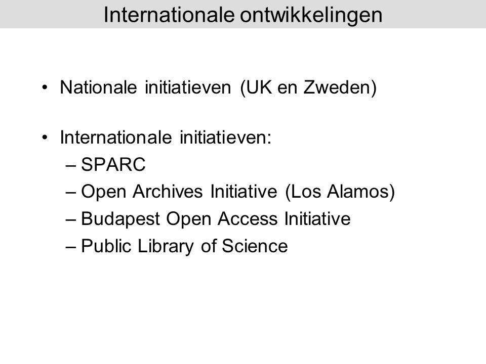 Nationale initiatieven (UK en Zweden) Internationale initiatieven: –SPARC –Open Archives Initiative (Los Alamos) –Budapest Open Access Initiative –Pub