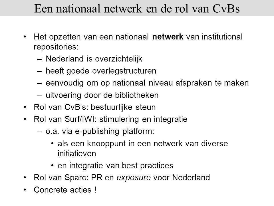 Het opzetten van een nationaal netwerk van institutional repositories: –Nederland is overzichtelijk –heeft goede overlegstructuren –eenvoudig om op na
