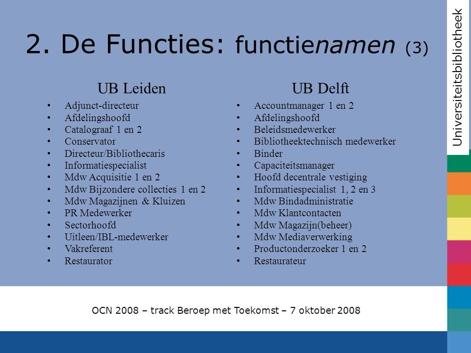 2. De Functies: functienamen (3) Universiteitsbibliotheek OCN 2008 – track Beroep met Toekomst – 7 oktober 2008 UB Leiden Adjunct-directeur Afdelingsh
