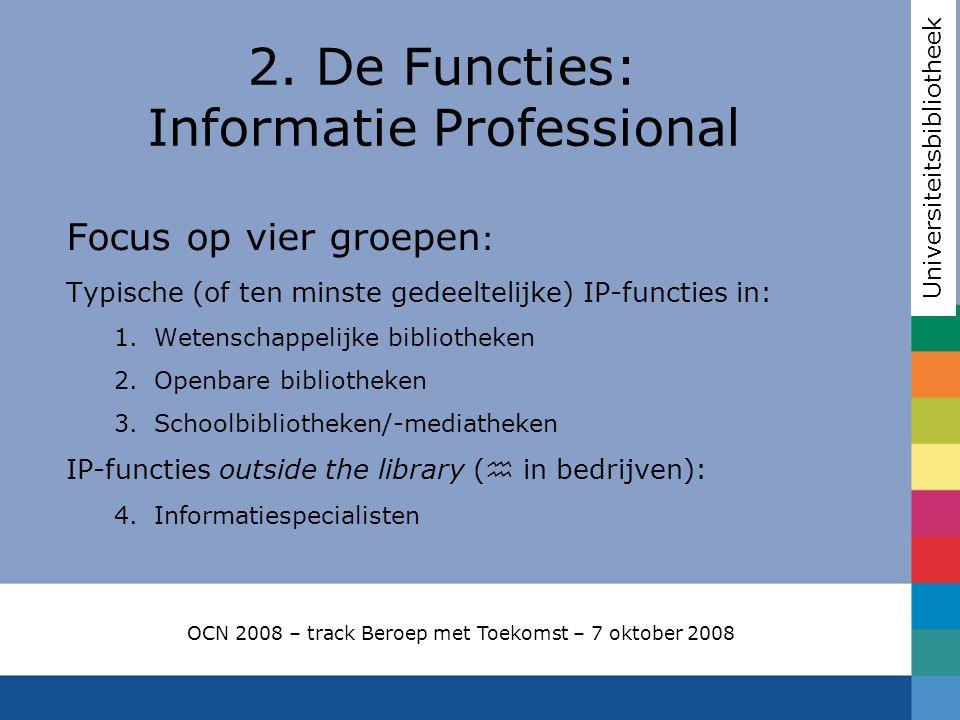 Focus op vier groepen : Typische (of ten minste gedeeltelijke) IP-functies in: 1.Wetenschappelijke bibliotheken 2.Openbare bibliotheken 3.Schoolbiblio