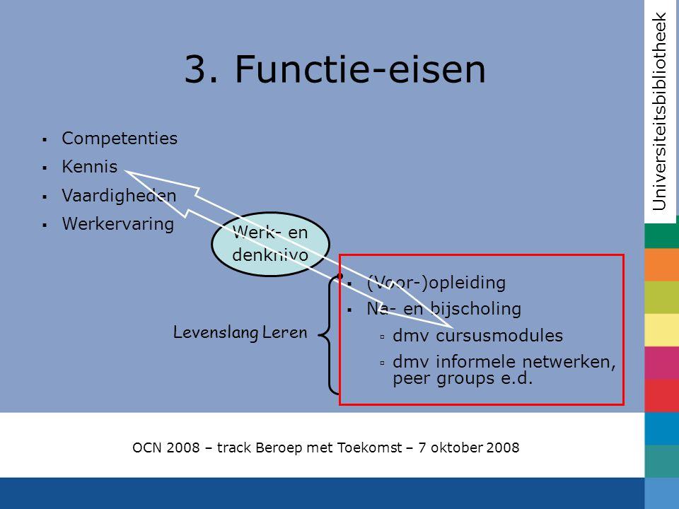 3. Functie-eisen Universiteitsbibliotheek OCN 2008 – track Beroep met Toekomst – 7 oktober 2008  Competenties  Kennis  Vaardigheden  Werkervaring