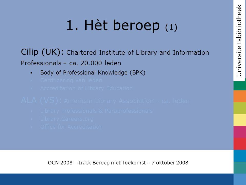 Cilip: Body of Professional Knowledge Core schema Generic & transferable skills Applications environment OCN 2008 – track Beroep met Toekomst – 7 oktober 2008