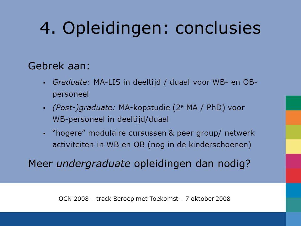 4. Opleidingen: conclusies Gebrek aan:  Graduate: MA-LIS in deeltijd / duaal voor WB- en OB- personeel  (Post-)graduate: MA-kopstudie (2 e MA / PhD)