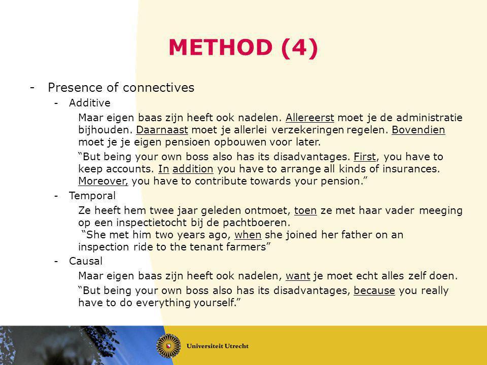 METHOD (4) -Presence of connectives -Additive Maar eigen baas zijn heeft ook nadelen.