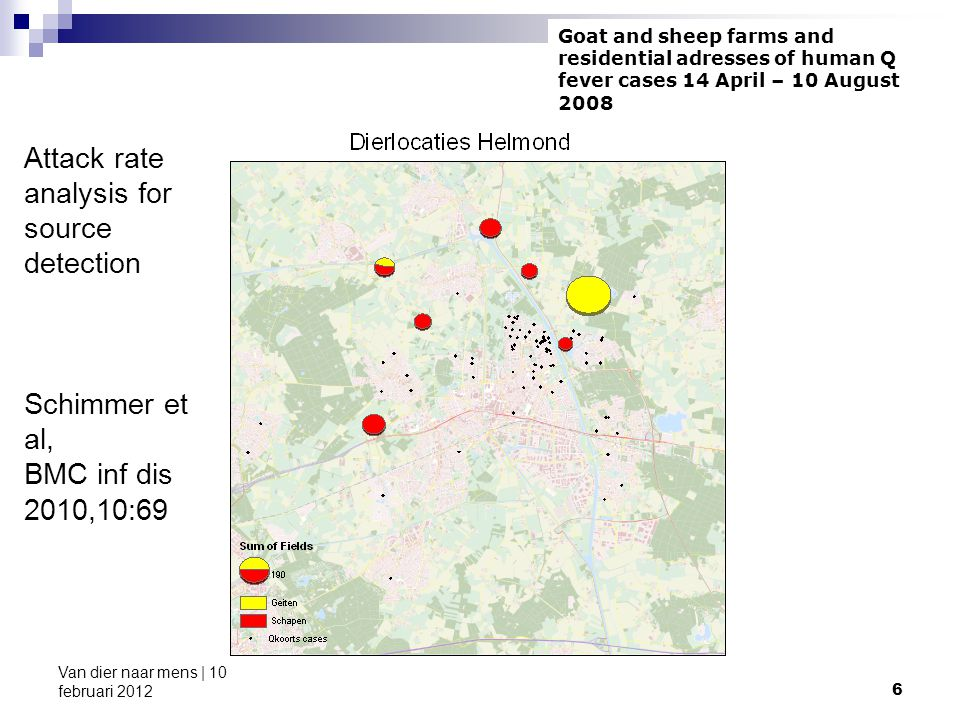 6 Attack rate analysis for source detection Schimmer et al, BMC inf dis 2010,10:69 Goat and sheep farms and residential adresses of human Q fever cases 14 April – 10 August 2008
