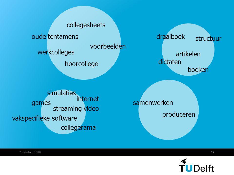 7 oktober 200814 games simulaties streaming video vakspecifieke software artikelen boeken dictaten collegesheets collegerama hoorcollege werkcolleges