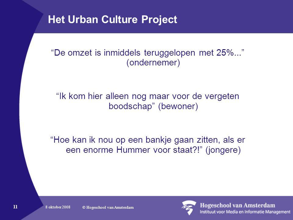 8 oktober 2008 © Hogeschool van Amsterdam 11 Het Urban Culture Project De omzet is inmiddels teruggelopen met 25%... (ondernemer) Ik kom hier alleen nog maar voor de vergeten boodschap (bewoner) Hoe kan ik nou op een bankje gaan zitten, als er een enorme Hummer voor staat ! (jongere)