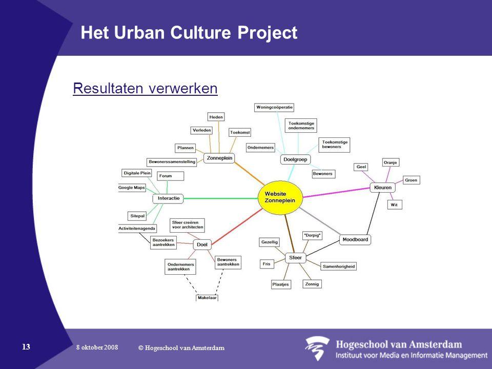 8 oktober 2008 © Hogeschool van Amsterdam 13 Het Urban Culture Project Resultaten verwerken