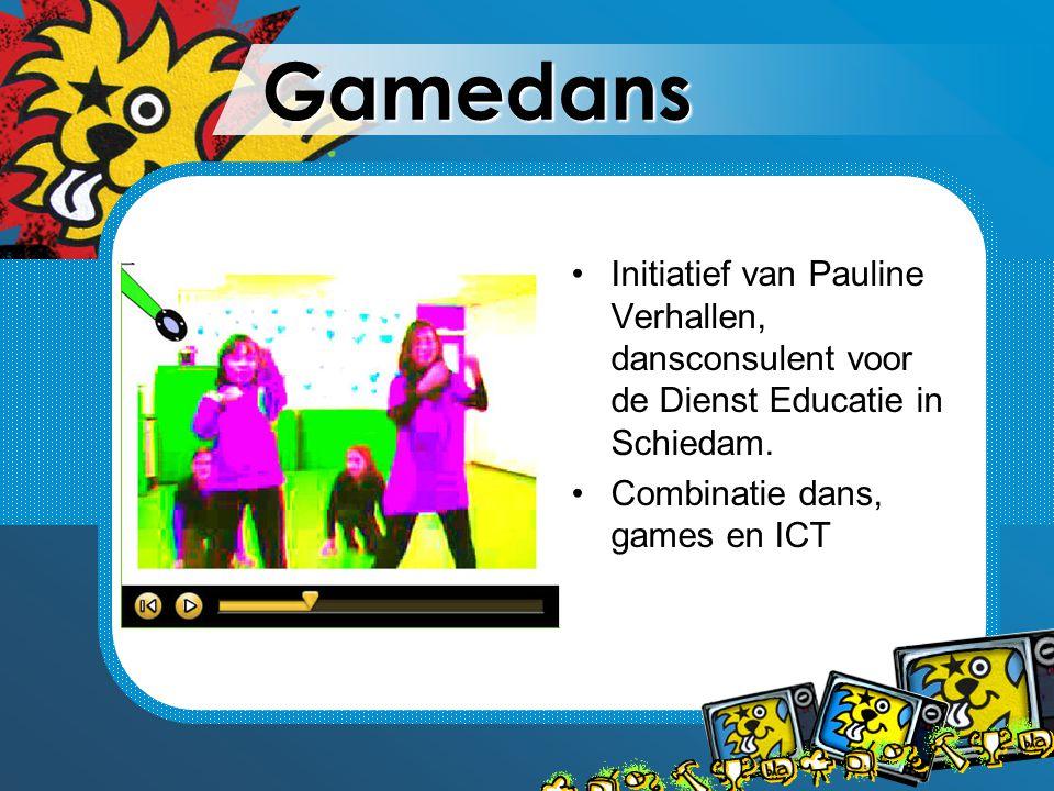 Gamedans Initiatief van Pauline Verhallen, dansconsulent voor de Dienst Educatie in Schiedam. Combinatie dans, games en ICT