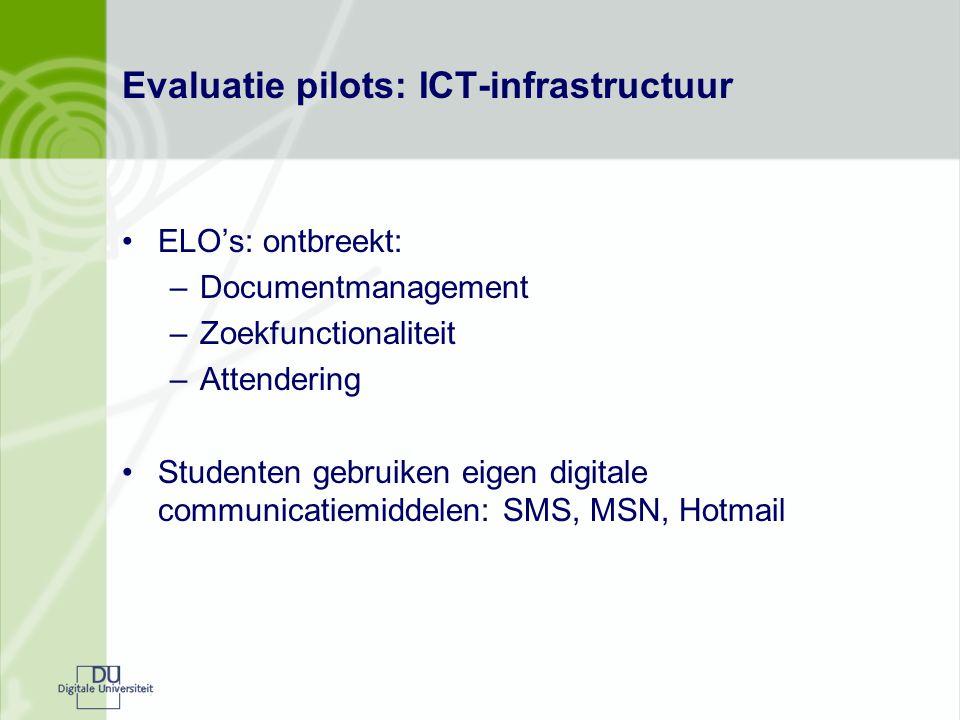 Evaluatie pilots: ICT-infrastructuur ELO's: ontbreekt: –Documentmanagement –Zoekfunctionaliteit –Attendering Studenten gebruiken eigen digitale commun