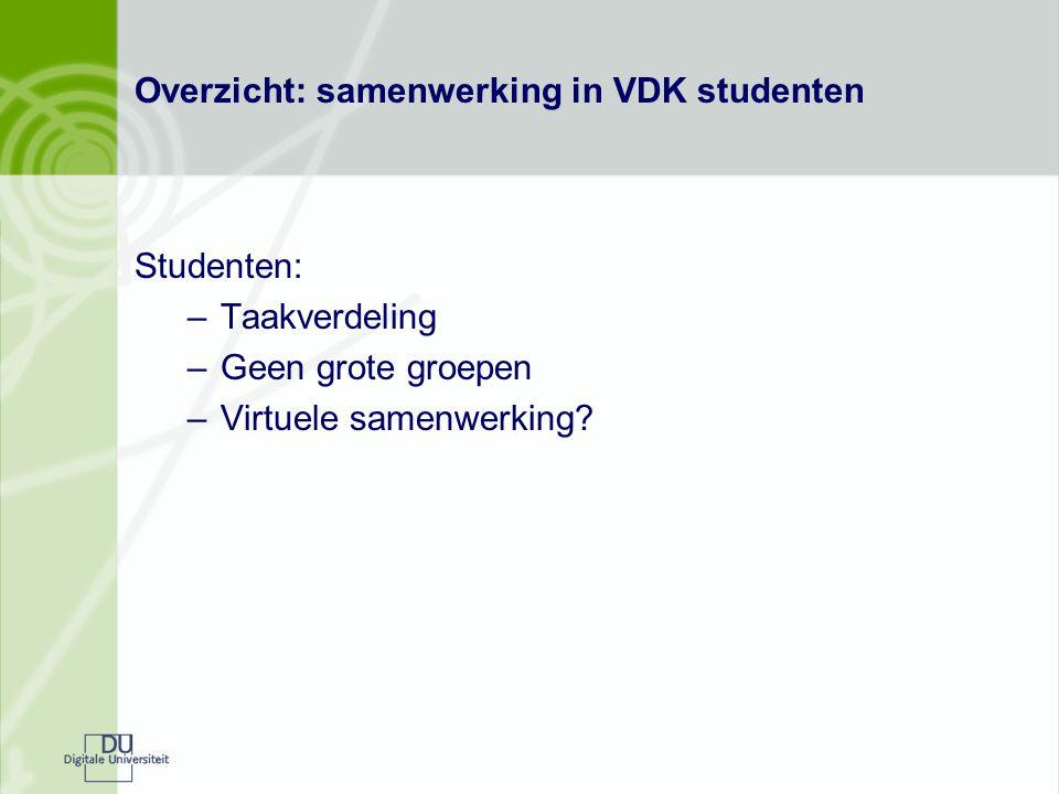 Overzicht: samenwerking in VDK studenten Studenten: –Taakverdeling –Geen grote groepen –Virtuele samenwerking?