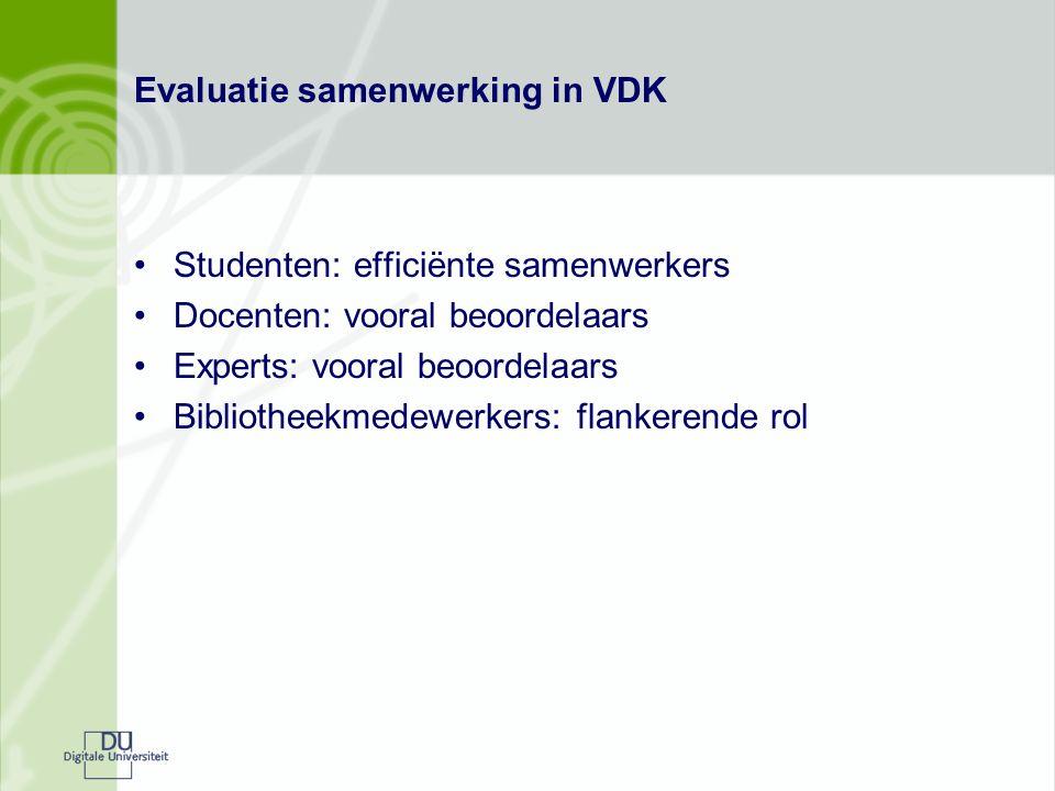 Evaluatie samenwerking in VDK Studenten: efficiënte samenwerkers Docenten: vooral beoordelaars Experts: vooral beoordelaars Bibliotheekmedewerkers: fl