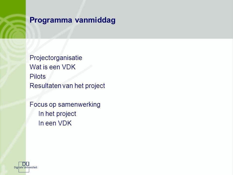 Programma vanmiddag Projectorganisatie Wat is een VDK Pilots Resultaten van het project Focus op samenwerking In het project In een VDK