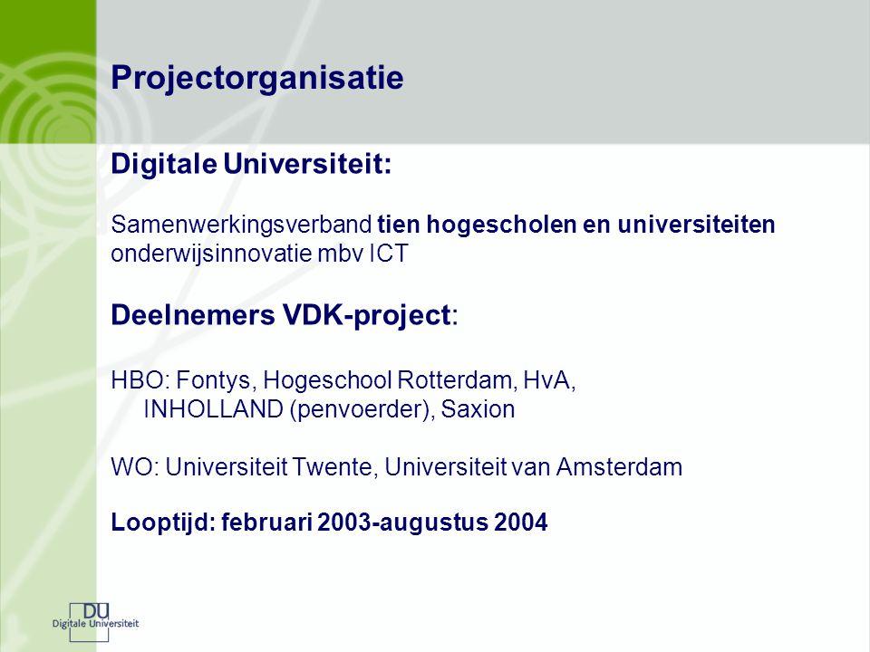 Projectorganisatie Digitale Universiteit: Samenwerkingsverband tien hogescholen en universiteiten onderwijsinnovatie mbv ICT Deelnemers VDK-project: H
