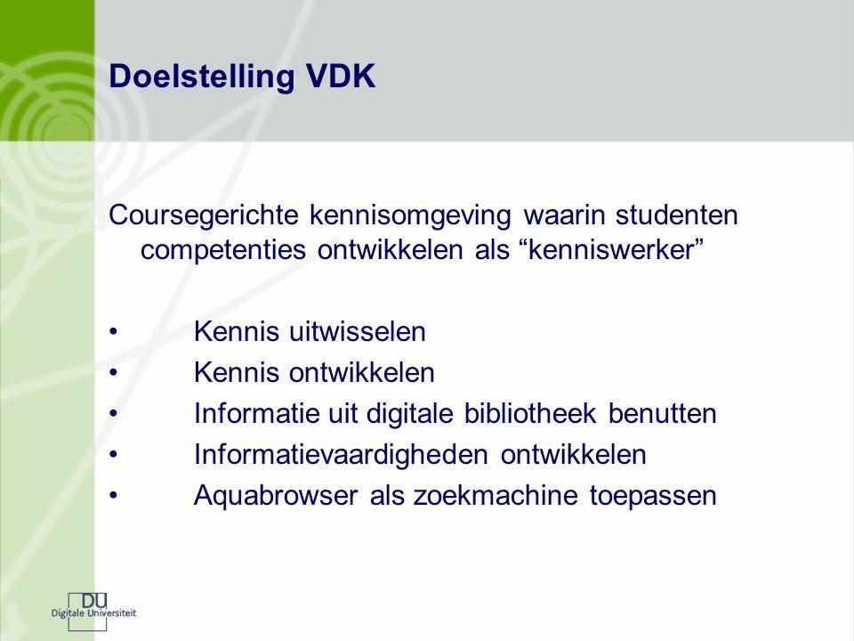 """Doelstelling VDK Coursegerichte kennisomgeving waarin studenten competenties ontwikkelen als """"kenniswerker"""" Kennis uitwisselen Kennis ontwikkelen Info"""