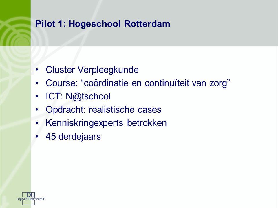"""Pilot 1: Hogeschool Rotterdam Cluster Verpleegkunde Course: """"coördinatie en continuïteit van zorg"""" ICT: N@tschool Opdracht: realistische cases Kennisk"""
