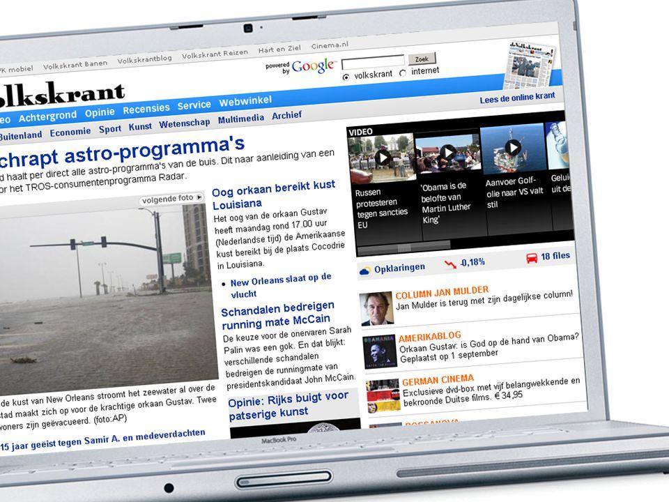 Mijlpalen Volkskrant Online o Bereik stijgt met 56% naar 10% in 2008 o 1.601.000 uniek bereik (Bron: STIR, juli '08) o Opinie site in maart 2008: VK columnisten en bezoekers (90.000 uniek bezoek) o Mobiel nieuwe site in juli 2008: explosieve stijging pageviews (van 150.000 naar 500.000 per maand)