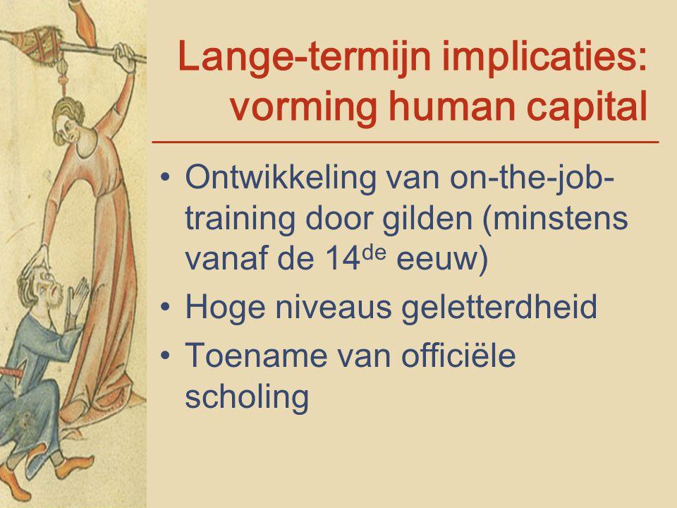 Lange-termijn implicaties: vorming human capital Ontwikkeling van on-the-job- training door gilden (minstens vanaf de 14 de eeuw) Hoge niveaus gelette