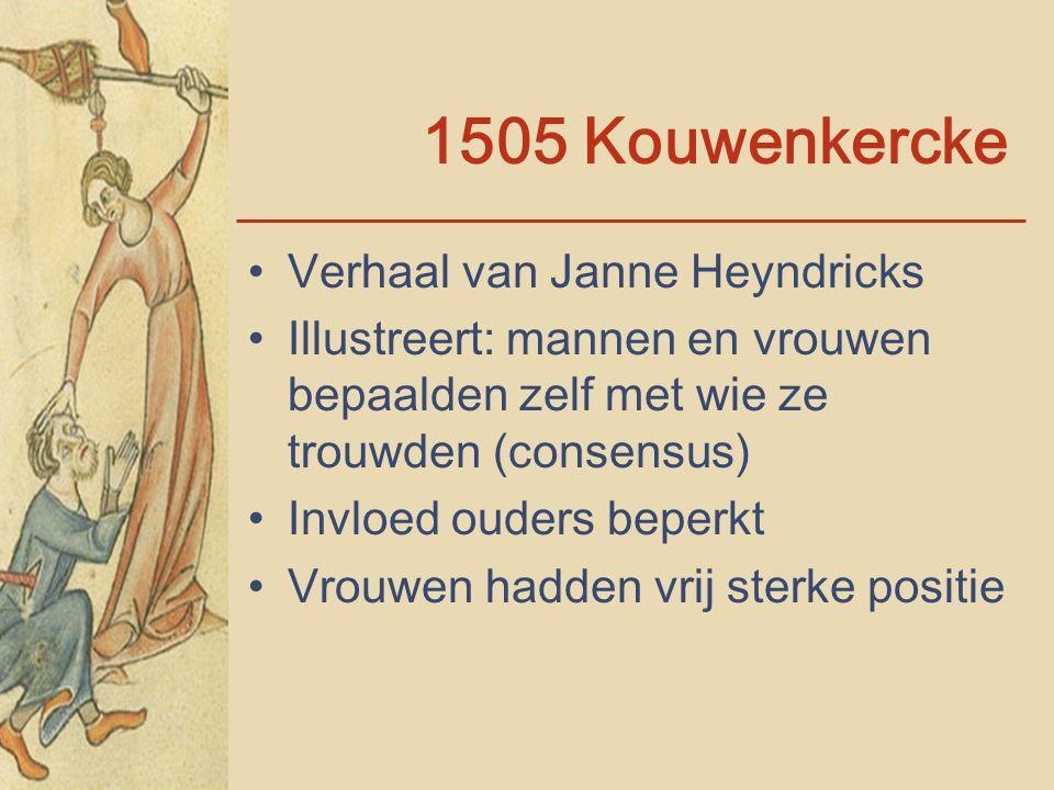 1505 Kouwenkercke Verhaal van Janne Heyndricks Illustreert: mannen en vrouwen bepaalden zelf met wie ze trouwden (consensus) Invloed ouders beperkt Vr