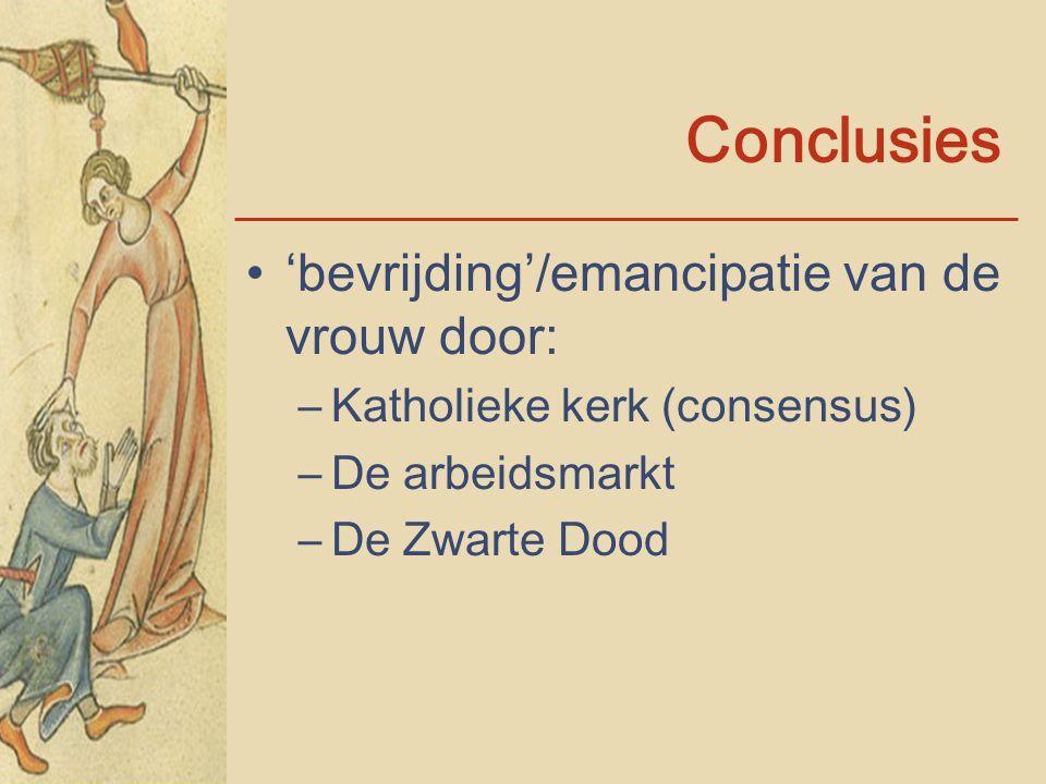 Conclusies 'bevrijding'/emancipatie van de vrouw door: –Katholieke kerk (consensus) –De arbeidsmarkt –De Zwarte Dood