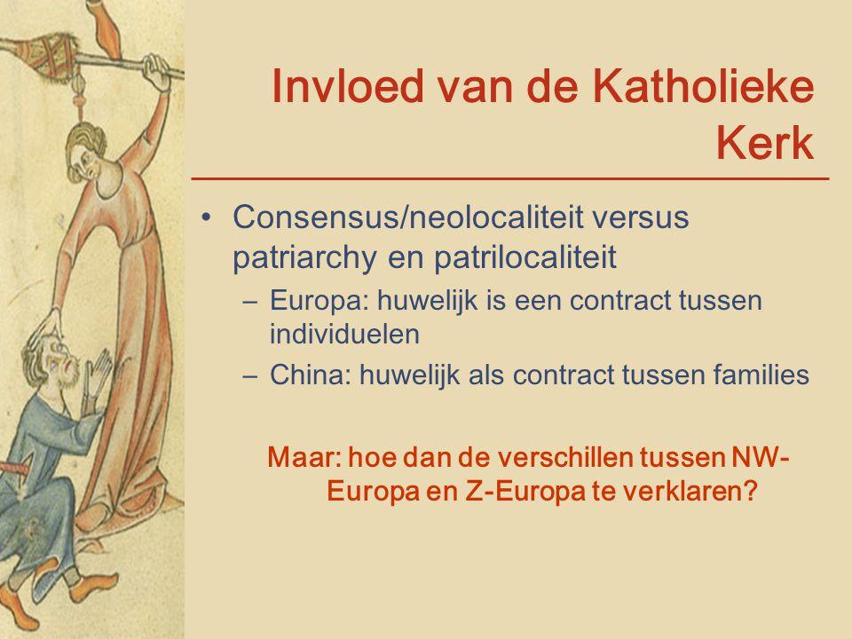 Invloed van de Katholieke Kerk Consensus/neolocaliteit versus patriarchy en patrilocaliteit –Europa: huwelijk is een contract tussen individuelen –Chi