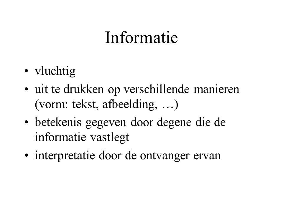 Informatie vluchtig uit te drukken op verschillende manieren (vorm: tekst, afbeelding, …) betekenis gegeven door degene die de informatie vastlegt interpretatie door de ontvanger ervan