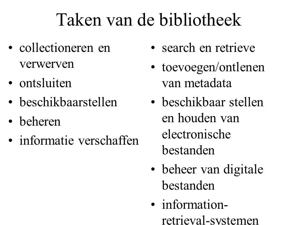 Taken van de bibliotheek collectioneren en verwerven ontsluiten beschikbaarstellen beheren informatie verschaffen search en retrieve toevoegen/ontlenen van metadata beschikbaar stellen en houden van electronische bestanden beheer van digitale bestanden information- retrieval-systemen