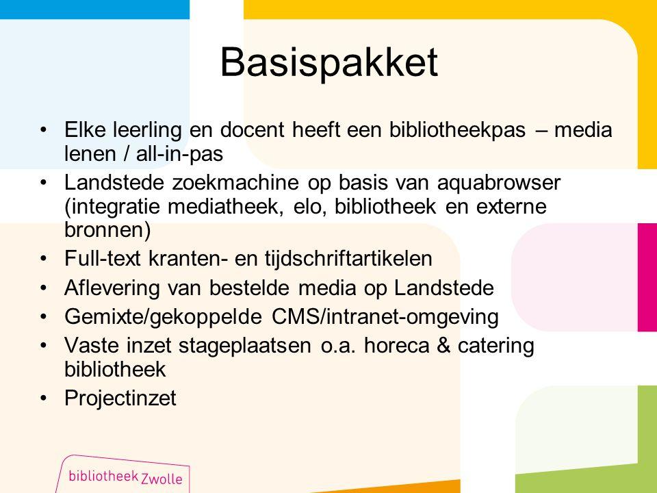 Basispakket Elke leerling en docent heeft een bibliotheekpas – media lenen / all-in-pas Landstede zoekmachine op basis van aquabrowser (integratie med