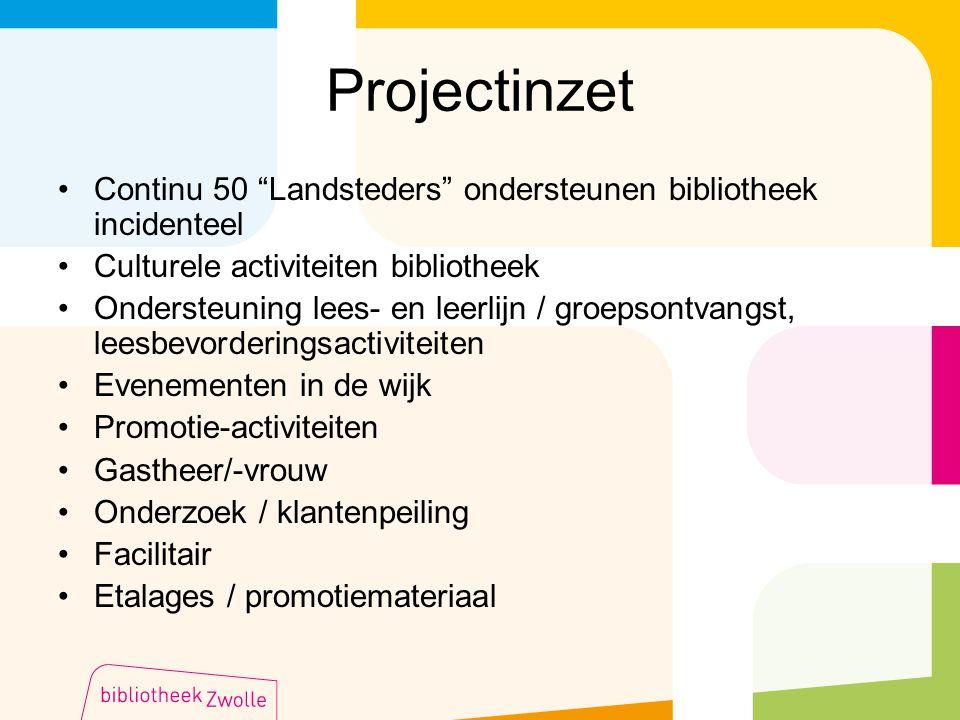 """Projectinzet Continu 50 """"Landsteders"""" ondersteunen bibliotheek incidenteel Culturele activiteiten bibliotheek Ondersteuning lees- en leerlijn / groeps"""