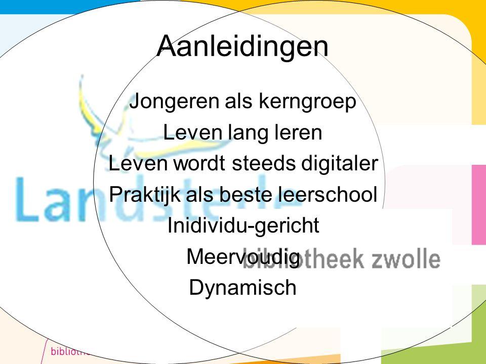 Aanleidingen Jongeren als kerngroep Leven lang leren Leven wordt steeds digitaler Praktijk als beste leerschool Inidividu-gericht Meervoudig Dynamisch