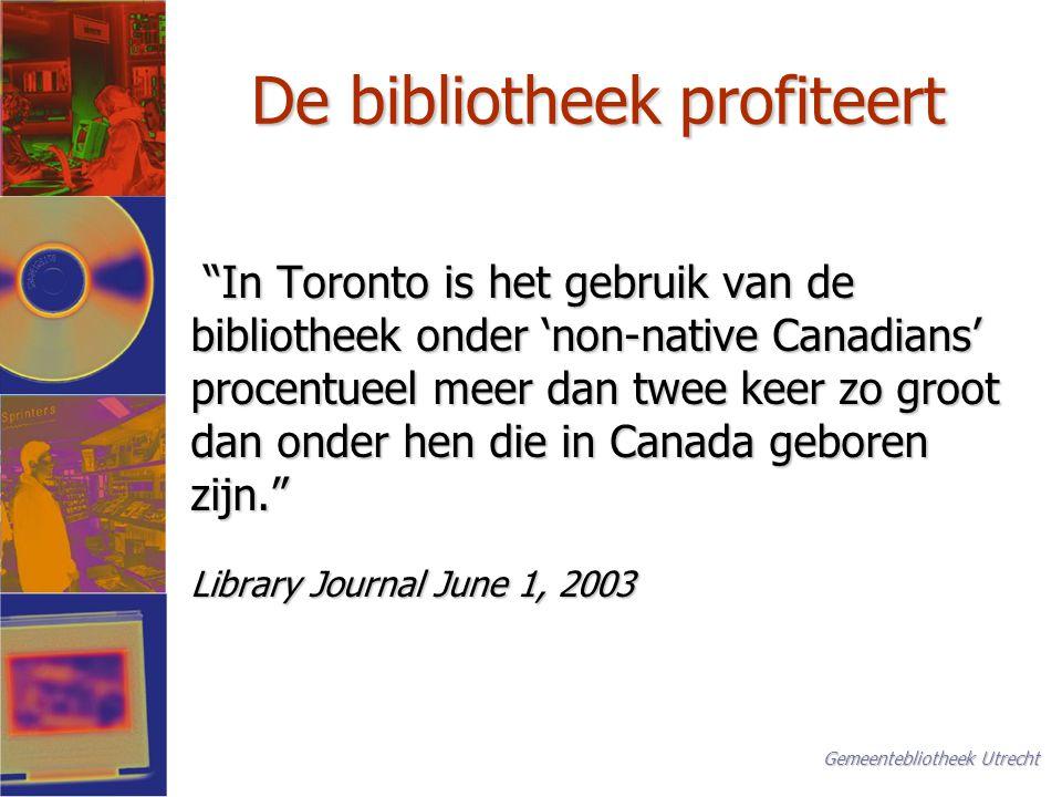 Rollen voor de bibliotheek (1) De bibliotheek stelt immigranten in staat om: De bibliotheek stelt immigranten in staat om: Nederlands als tweede taal te lerenNederlands als tweede taal te leren Informatie te vinden om in te burgerenInformatie te vinden om in te burgeren Hun eigen cultuur te belevenHun eigen cultuur te beleven In verbinding te blijven met het land van herkomstIn verbinding te blijven met het land van herkomst Gemeentebliotheek Utrecht