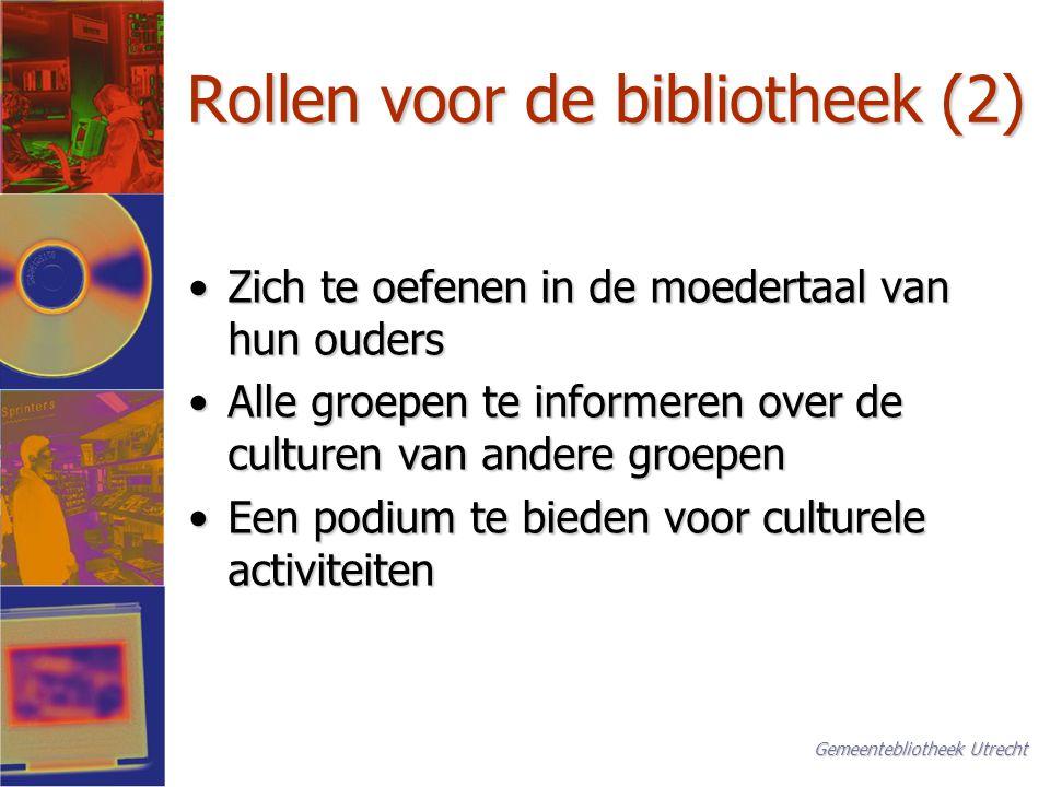 Belangrijke aspecten (1) Organisatie en management Wie neemt het initiatiefWie neemt het initiatief Keuze of incident, van binnen of buitenKeuze of incident, van binnen of buiten Een toegewijde medewerker of de directeurEen toegewijde medewerker of de directeur Project of dagelijkse praktijkProject of dagelijkse praktijk Gemeentebliotheek Utrecht